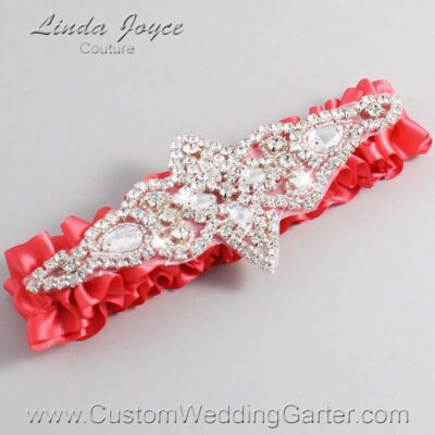 Watermelon Wedding Garter / Orange Wedding Garters / Lorine #01-A09-243-Watermelon_Silver / Wedding Garters / Custom Wedding Garters / Bridal Garter / Prom Garter / Linda Joyce Couture
