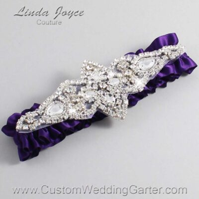 Plum Wedding Garter / Purple Wedding Garters / Lorine #01-A09-285-Plum_Silver / Wedding Garters / Custom Wedding Garters / Bridal Garter / Prom Garter / Linda Joyce Couture