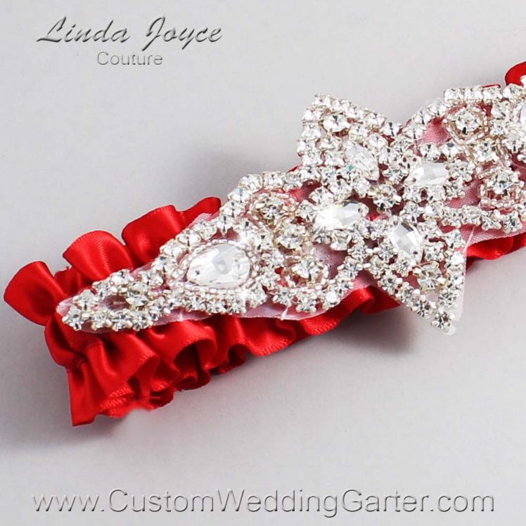 Red Wedding Garter / Red Wedding Garters / Wedding Garter / Custom Wedding Garter / Linda Joyce Couture / Lorine #01-A09-299-Red_Silver