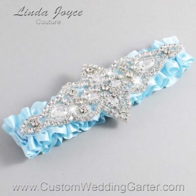 Alice Blue Wedding Garter / Blue Wedding Garters / Lorine #01-A09-305-Alice-Blue_Silver / Wedding Garters / Custom Wedding Garters / Bridal Garter / Prom Garter / Linda Joyce Couture