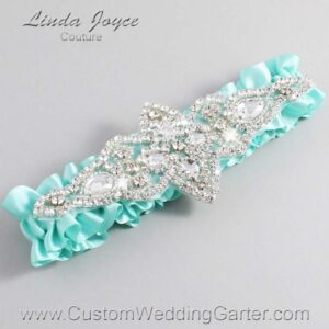 Aqua Wedding Garter / Teal Wedding Garters / Lorine #01-A09-314-Aqua_Silver / Wedding Garters / Custom Wedding Garters / Bridal Garter / Prom Garter / Linda Joyce Couture