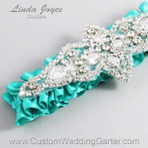 Tropic Wedding Garter / Teal Wedding Garters / Lorine #01-A09-323-Tropic_Silver / Wedding Garters / Custom Wedding Garters / Bridal Garter / Prom Garter / Linda Joyce Couture