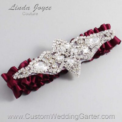 Wine Wedding Garter / Burgundy Wedding Garters / Lorine #01-A09-332-Wine_Silver / Wedding Garters / Custom Wedding Garters / Bridal Garter / Prom Garter / Linda Joyce Couture