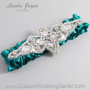 Mallard Wedding Garter / Teal Wedding Garters / Lorine #01-A09-342-Mallard_Silver / Wedding Garters / Custom Wedding Garters / Bridal Garter / Prom Garter / Linda Joyce Couture