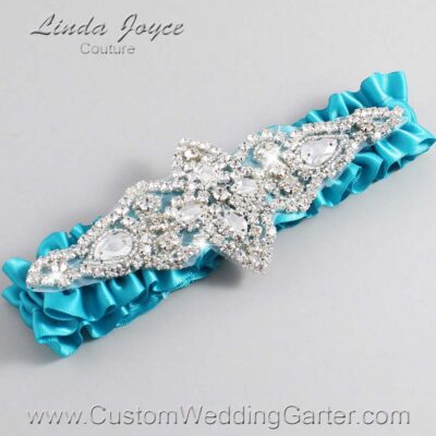 Tornado Blue Wedding Garter / Teal Wedding Garters / Lorine #01-A09-344-Tornado-Blue_Silver / Wedding Garters / Custom Wedding Garters / Bridal Garter / Prom Garter / Linda Joyce Couture