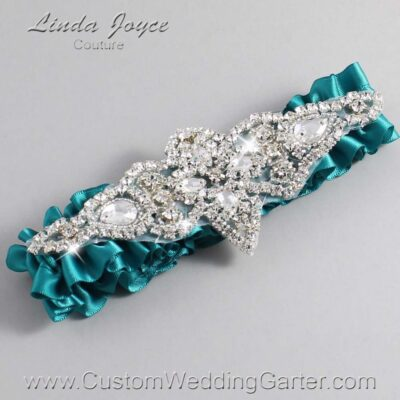 Jade Wedding Garter / Teal Wedding Garters / Lorine #01-A09-346-Jade_Silver / Wedding Garters / Custom Wedding Garters / Bridal Garter / Prom Garter / Linda Joyce Couture