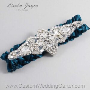 Teal Wedding Garter / Teal Wedding Garters / Lorine #01-A09-347-Teal_Silver / Wedding Garters / Custom Wedding Garters / Bridal Garter / Prom Garter / Linda Joyce Couture