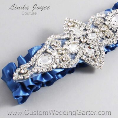 Smoke Blue Wedding Garter / Blue Wedding Garters / Lorine #01-A09-363-Smoke-Blue_Silver / Wedding Garters / Custom Wedding Garters / Bridal Garter / Prom Garter / Linda Joyce Couture