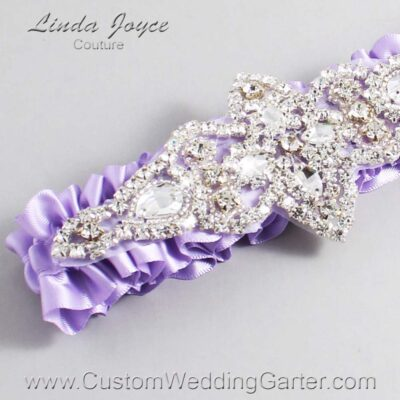 Lavender Wedding Garter / Purple Wedding Garters / Lorine #01-A09-430-Lavender_Silver / Wedding Garters / Custom Wedding Garters / Bridal Garter / Prom Garter / Linda Joyce Couture