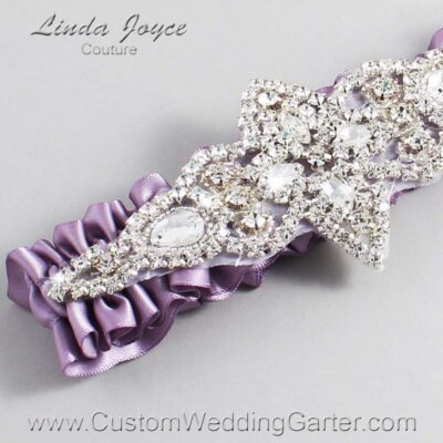 Fresco Wedding Garter / Purple Wedding Garters / Lorine #01-A09-434-Fresco_Silver / Wedding Garters / Custom Wedding Garters / Bridal Garter / Prom Garter / Linda Joyce Couture