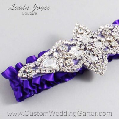 Eggplant Wedding Garter / Purple Wedding Garters / Lorine #01-A09-465-Eggplant_Silver / Wedding Garters / Custom Wedding Garters / Bridal Garter / Prom Garter / Linda Joyce Couture