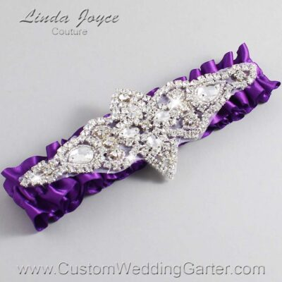 Ultra Violet Wedding Garter / Purple Wedding Garters / Lorine #01-A09-467-Ultra-Violet_Silver / Wedding Garters / Custom Wedding Garters / Bridal Garter / Prom Garter / Linda Joyce Couture