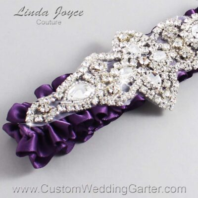 Amethyst Wedding Garter / Purple Wedding Garters / Lorine #01-A09-473-Amethyst_Silver / Wedding Garters / Custom Wedding Garters / Bridal Garter / Prom Garter / Linda Joyce Couture