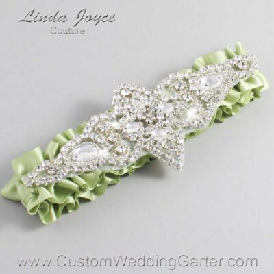 Lime Juice Wedding Garter / Green Wedding Garters / Lorine #01-A09-524-Lime-Juice_Silver / Wedding Garters / Custom Wedding Garters / Bridal Garter / Prom Garter / Linda Joyce Couture
