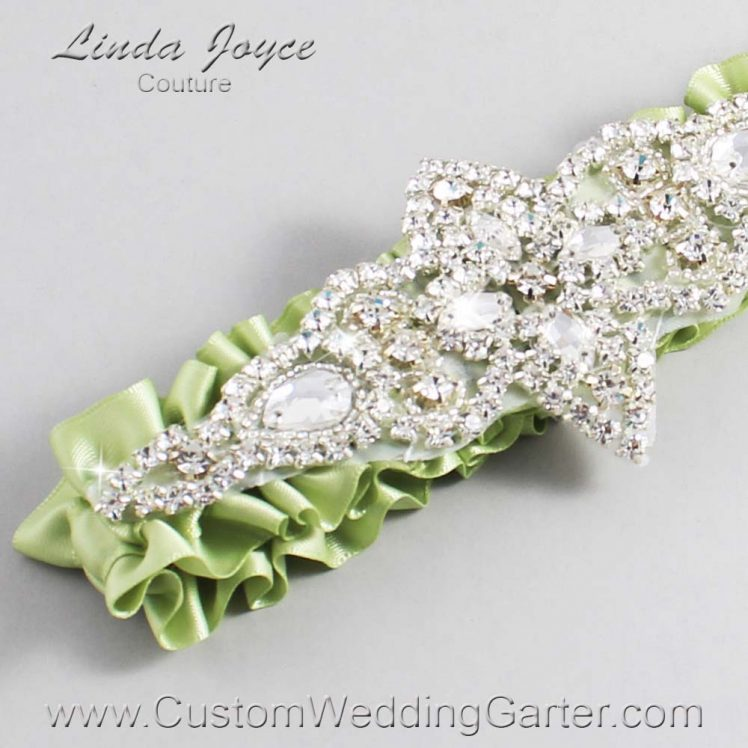 Lime Juice Wedding Garter / Green Wedding Garters / Wedding Garter / Custom Wedding Garter / Linda Joyce Couture / Lorine #01-A09-524-Lime-Juice_Silver