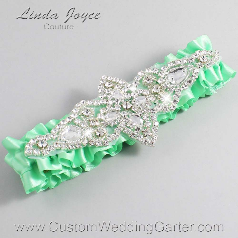 Mint Wedding Garter / Green Wedding Garters / Lorine #01-A09-531-Mint_Silver / Wedding Garters / Custom Wedding Garters / Bridal Garter / Prom Garter / Linda Joyce Couture