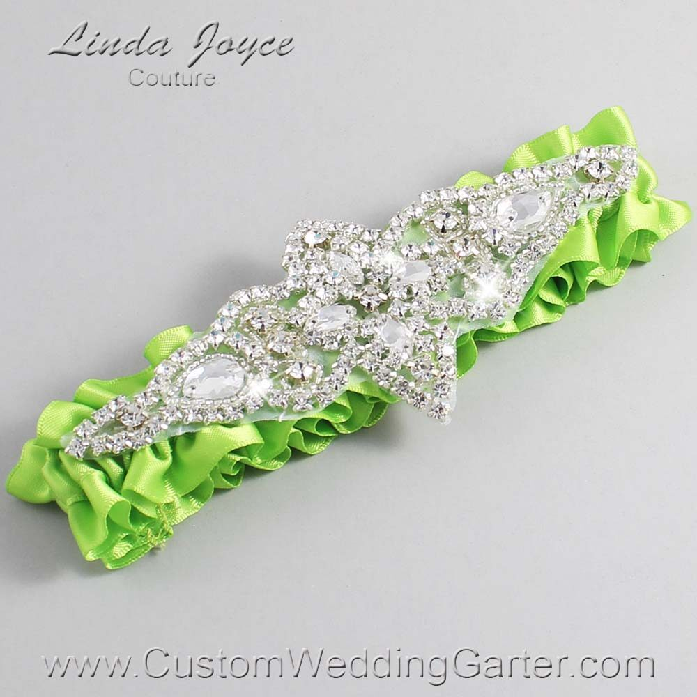 Green Yellow Wedding Garter / Green Wedding Garters / Lorine #01-A09-550-Green-Yellow_Silver / Wedding Garters / Custom Wedding Garters / Bridal Garter / Prom Garter / Linda Joyce Couture