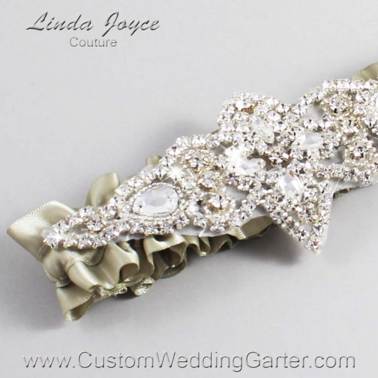 Olive Gray Wedding Garter / Green Wedding Garters / Wedding Garter / Custom Wedding Garter / Linda Joyce Couture / Lorine #01-A09-565-Olive-Gray_Silver