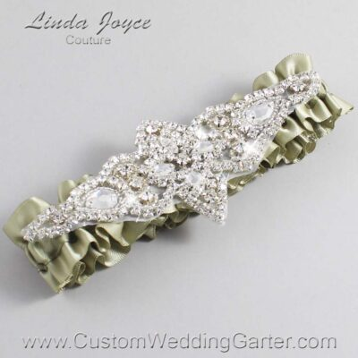 Soft Pine Wedding Garter / Green Wedding Garters / Lorine #01-A09-566-Soft-Pine_Silver / Wedding Garters / Custom Wedding Garters / Bridal Garter / Prom Garter / Linda Joyce Couture