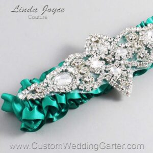 Parrot Green Wedding Garter / Teal Wedding Garters / Lorine #01-A09-583-Parrot-Green_Silver / Wedding Garters / Custom Wedding Garters / Bridal Garter / Prom Garter / Linda Joyce Couture