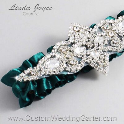 Jungle Green Wedding Garter / Green Wedding Garters / Lorine #01-A09-589-Jungle-Green_Silver / Wedding Garters / Custom Wedding Garters / Bridal Garter / Prom Garter / Linda Joyce Couture