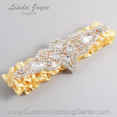 Chamois Wedding Garter / Yellow Wedding Garters / Lorine #01-A09-614-Chamois_Silver / Wedding Garters / Custom Wedding Garters / Bridal Garter / Prom Garter / Linda Joyce Couture