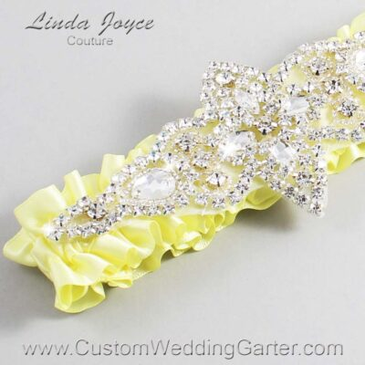 Lemon Chiffon Wedding Garter / Yellow Wedding Garters / Lorine #01-A09-617-Lemon-Chiffon_Silver / Wedding Garters / Custom Wedding Garters / Bridal Garter / Prom Garter / Linda Joyce Couture