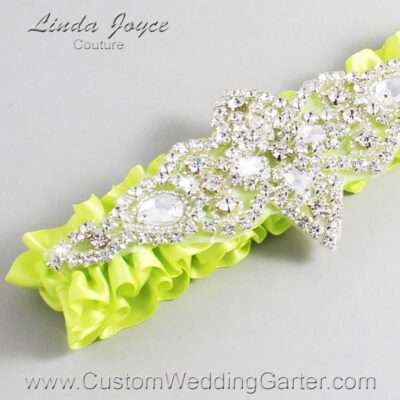 Pineapple Wedding Garter / Yellow Wedding Garters / Lorine #01-A09-625-Pineapple_Silver / Wedding Garters / Custom Wedding Garters / Bridal Garter / Prom Garter / Linda Joyce Couture