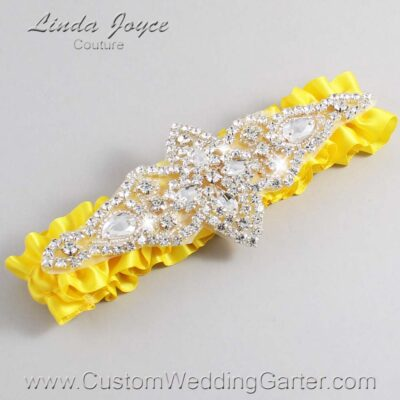 Sunglow Wedding Garter / Yellow Wedding Garters / Lorine #01-A09-645-Sunglow_Silver / Wedding Garters / Custom Wedding Garters / Bridal Garter / Prom Garter / Linda Joyce Couture