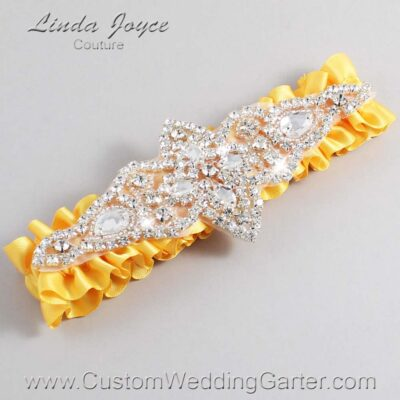 Saffron Wedding Garter / Yellow Wedding Garters / Lorine #01-A09-658-Saffron_Silver / Wedding Garters / Custom Wedding Garters / Bridal Garter / Prom Garter / Linda Joyce Couture