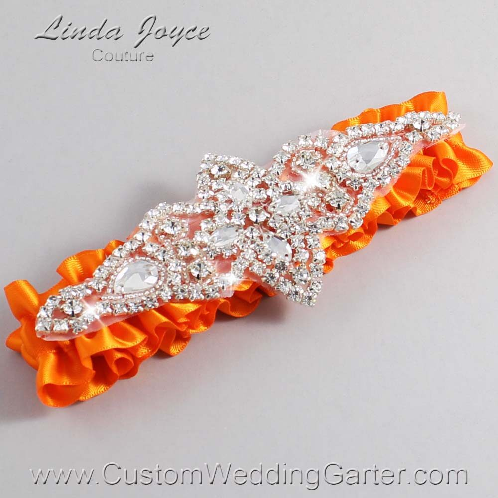 Tangerine Wedding Garter / Orange Wedding Garters / Lorine #01-A09-668-Tangerine_Silver / Wedding Garters / Custom Wedding Garters / Bridal Garter / Prom Garter / Linda Joyce Couture