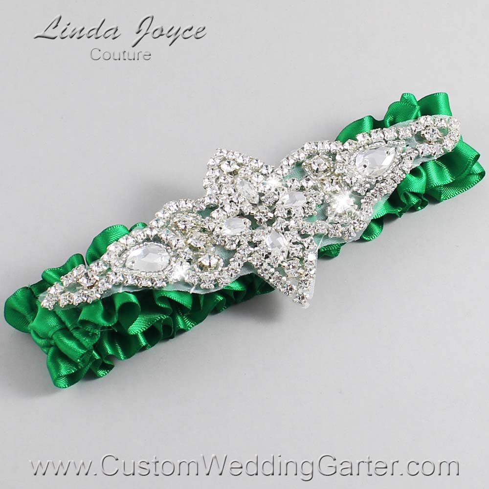 Emerald Green Wedding Garter / Green Wedding Garters / Lorine #01-A09-684-Emerald-Green_Silver / Wedding Garters / Custom Wedding Garters / Bridal Garter / Prom Garter / Linda Joyce Couture