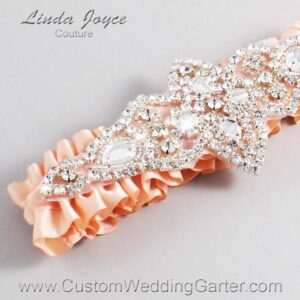 Petal Peach Wedding Garter / Orange Wedding Garters / Lorine #01-A09-714-Petal-Peach_Silver / Wedding Garters / Custom Wedding Garters / Bridal Garter / Prom Garter / Linda Joyce Couture