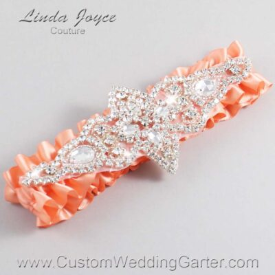 Salmon Wedding Garter / Orange Wedding Garters / Lorine #01-A09-720-Salmon_Silver / Wedding Garters / Custom Wedding Garters / Bridal Garter / Prom Garter / Linda Joyce Couture