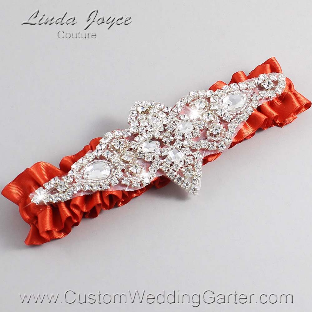 Mandarin-Orange Wedding Garter / Orange Wedding Garters / Lorine #01-A09-765-Mandarin-Orange_Silver / Wedding Garters / Custom Wedding Garters / Bridal Garter / Prom Garter / Linda Joyce Couture