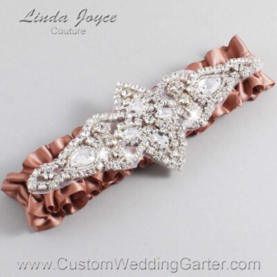 Pecan Brown Wedding Garter / Brown Wedding Garters / Lorine #01-A09-779-Pecan-Brown_Silver / Wedding Garters / Custom Wedding Garters / Bridal Garter / Prom Garter / Linda Joyce Couture