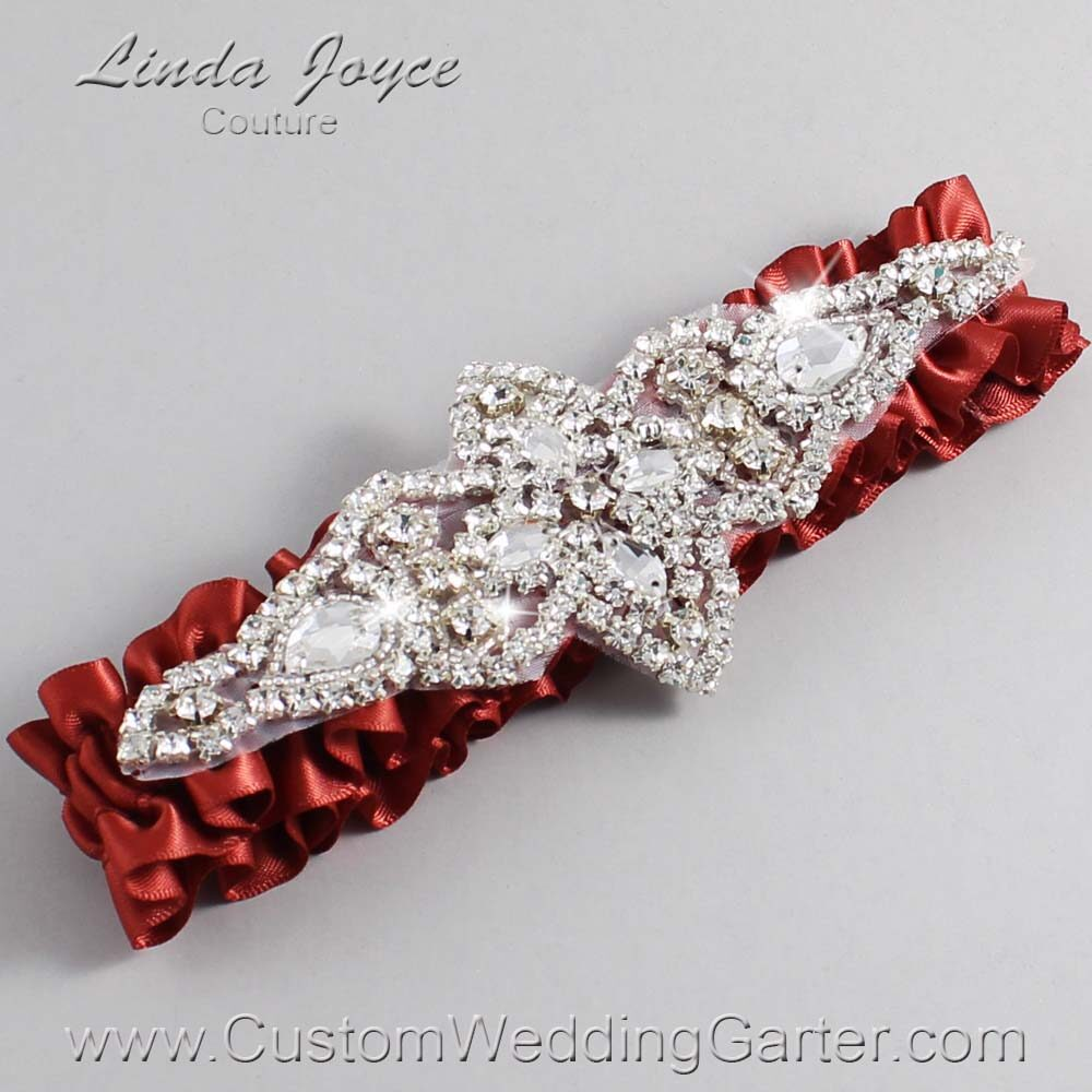 Rust Wedding Garter / Orange Wedding Garters / Lorine #01-A09-780-Rust_Silver / Wedding Garters / Custom Wedding Garters / Bridal Garter / Prom Garter / Linda Joyce Couture