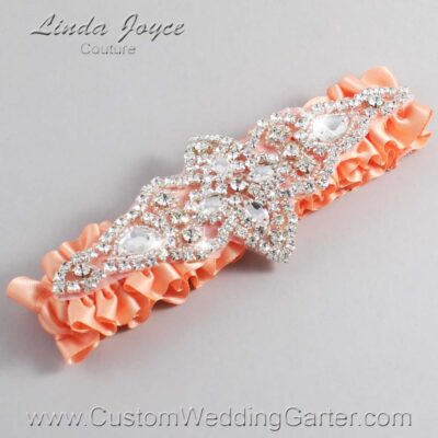 Peach Wedding Garter / Orange Wedding Garters / Lorine #01-A09-805-Peach_Silver / Wedding Garters / Custom Wedding Garters / Bridal Garter / Prom Garter / Linda Joyce Couture