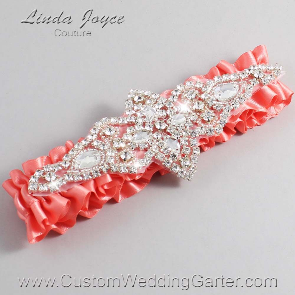 Woodrose Wedding Garter / Orange Wedding Garters / Lorine #01-A09-816-Woodrose_Silver / Wedding Garters / Custom Wedding Garters / Bridal Garter / Prom Garter / Linda Joyce Couture