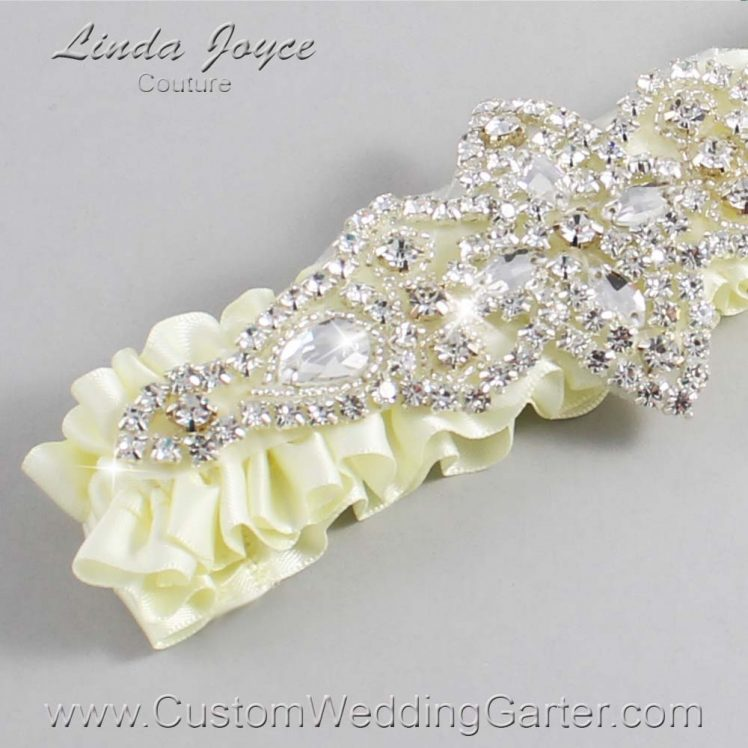 Candlelight Wedding Garter / Ivory Wedding Garters / Wedding Garter / Custom Wedding Garter / Linda Joyce Couture / Lorine #01-A09-820-Candlelight_Silver