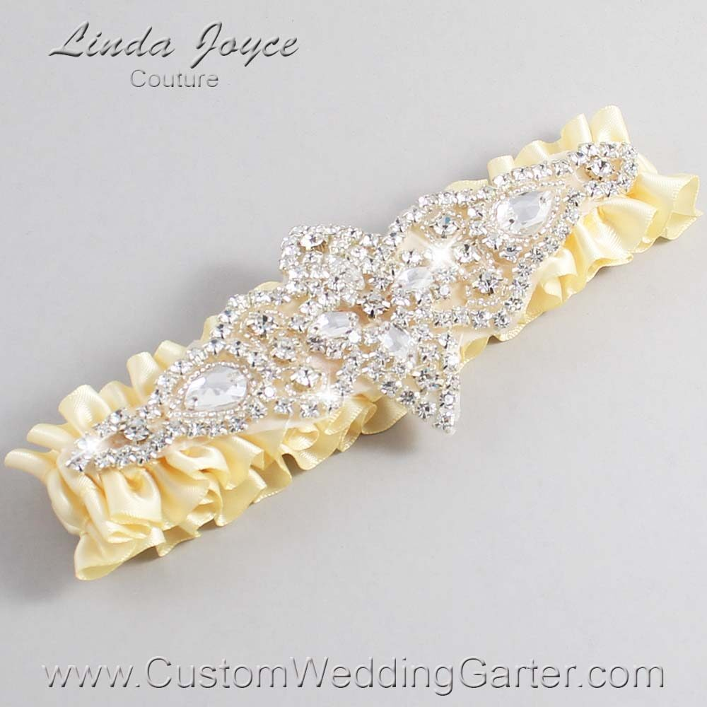 Buttermilk Wedding Garter / Yellow Wedding Garters / Lorine #01-A09-824-Buttermilk_Silver / Wedding Garters / Custom Wedding Garters / Bridal Garter / Prom Garter / Linda Joyce Couture