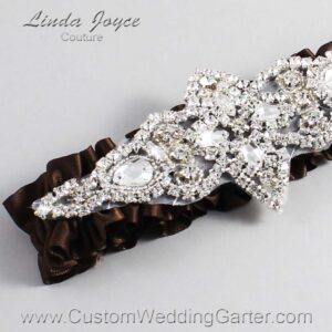 Coffee Wedding Garter / Brown Wedding Garters / Lorine #01-A09-850-Coffee_Silver / Wedding Garters / Custom Wedding Garters / Bridal Garter / Prom Garter / Linda Joyce Couture