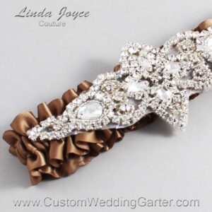 Sable Wedding Garter / Brown Wedding Garters / Lorine #01-A09-922-Sable_Silver / Wedding Garters / Custom Wedding Garters / Bridal Garter / Prom Garter / Linda Joyce Couture