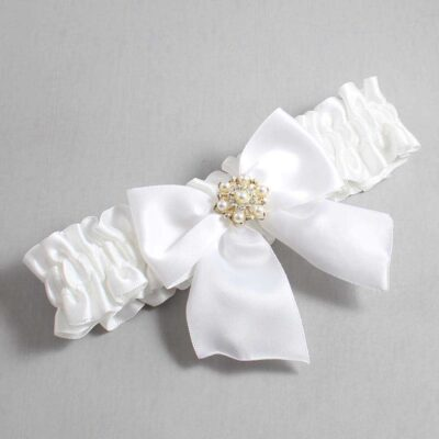 White Wedding Garter / White Wedding Garters / Larissa #01-B01-M27-112-White / Wedding Garters / Custom Wedding Garters / Bridal Garter / Prom Garter / Linda Joyce Couture