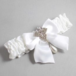 White Wedding Garter / White Wedding Garters / Madeline #01-B01-M33-112-White / Wedding Garters / Custom Wedding Garters / Bridal Garter / Prom Garter / Linda Joyce Couture