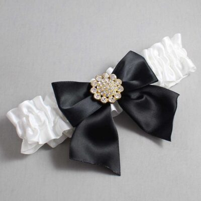 White and Black Wedding Garter / White Wedding Garters / Penny #01-B01-M12-112-White-123-Black / Wedding Garters / Custom Wedding Garters / Bridal Garter / Prom Garter / Linda Joyce Couture