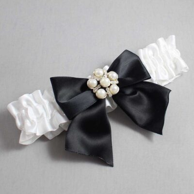 White and Black Wedding Garter / White Wedding Garters / Monica #01-B01-M13-112-White-123-Black / Wedding Garters / Custom Wedding Garters / Bridal Garter / Prom Garter / Linda Joyce Couture