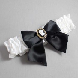 White and Black Wedding Garter / White Wedding Garters / Amy #01-B01-M15-112-White-123-Black / Wedding Garters / Custom Wedding Garters / Bridal Garter / Prom Garter / Linda Joyce Couture