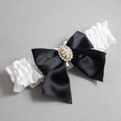 White and Black Wedding Garter / White Wedding Garters / Annie #01-B01-M17-112-White-123-Black / Wedding Garters / Custom Wedding Garters / Bridal Garter / Prom Garter / Linda Joyce Couture