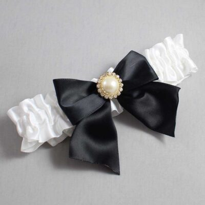 White and Black Wedding Garter / White Wedding Garters / Paige #01-B01-M21-112-White-123-Black / Wedding Garters / Custom Wedding Garters / Bridal Garter / Prom Garter / Linda Joyce Couture